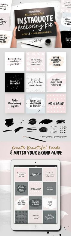 Instaquote Lettering Kit - Social media quotes templates for entrepreneur marketing on Instagram. Designs with hand-lettered script fonts, brush strokes and splatters. How to make Instagram quotes.