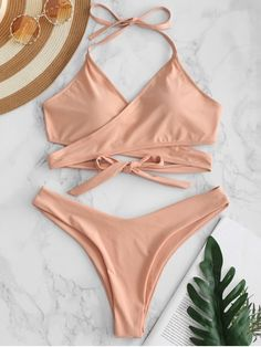 Seamed with reinforced zigzag stitching that ensures a secure fit and durability, The wrap bikini top has self-tie straps that go around the waist, as well as a pair of greatly shaped bottoms to accentuate that booty. Strappy Bathing Suit, Cute Bathing Suits, Swimwear Fashion, Bikini Fashion, Sport Bikini Set, Bikini Types, Zaful Bikinis, Swimming Outfit, One Shoulder Bikini