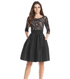 Calvin Klein Sequin Taffeta Fit And Flare Dress at www.bostonstore.com