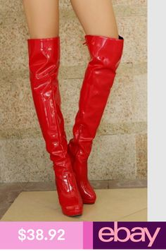 69108adafce35 Women Lady Size Patent Leather Zippered Over The Knee Boots Pull-On Heels  Shoes