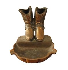 Vintage Bronze Cowboy Boots Ashtray Dish on Chairish.com