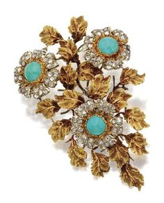 18 KARAT GOLD, TURQUOISE AND DIAMOND FLOWER BROOCH, CIRCA 1970. Designed as a branch of leaves and blossoms in yellow, pink and white gold, the flowers centering 3 round turquoise cabochons with petals of rose-cut diamonds weighing a total of approximately 3.00 carats.