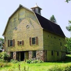 Beautiful yellow barn in Macedon, New York.