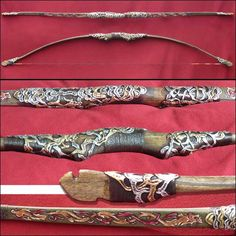 """Deflex/reflex maple-babmboo-fiber glass long bow 72"""" long; 65# weight;max drow 32"""".hand carved and painted and guild with gold and silver leafs."""