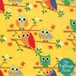 Jenn Ski Fabric, Kids Novelty Fabric, Yellow Owls, Ten Little Things by Jenn Ski for Moda Fabrics, Owl Patterns, Fabric Patterns, Amy Butler Fabric, Cotton Blossom, Nursery Fabric, Thing 1, Novelty Fabric, Owl Print, Pattern Wallpaper