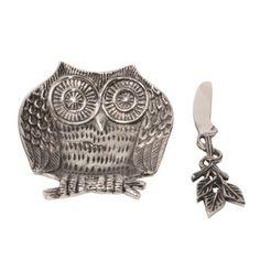 Metal Owl Dip Bowl and Spreader Pinned by www.myowlbarn.com