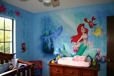 Little mermaid obsessed! Miss my lil mermaid room when I was little! :) May b I should do the girls a room like this or may b my own personal room...don't hate! Lol