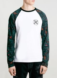Photo 1 of White/Black Floral Raglan Long Sleeve T-Shirt