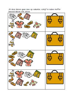 Schrijf in iedere koffer hoeveel kleren erin zitten