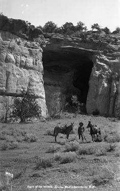 """Cave of the Winds, Sierra Madre Mountains"" Now known mostly as Kit Carson Cave, near Gallup, New Mexico Photographer: Ben Wittick Date: 1880 - 1890? Negative Number 016021 via Palace of the Governors Photo Archives FB"