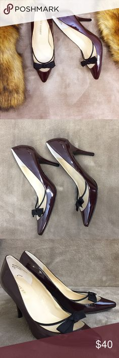 Patent leather bow heels 😍👠 Beautiful Audrey Brooke deep berry colored patent pumps. Features bow and mesh design for a cute and sexy look. Never been worn. One heel has two tiny superficial marks from storage, but it's not noticeable. These heels are awesome 😍😍🎉. Heel not quite 4 inches. Size 7 1/2.. Audrey Brooke Shoes Heels