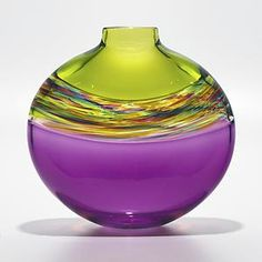 Flat Transparent Banded Vortex Vase in Lime Spring Violet: Michael Trimpol: Art Glass Vase - Artful Home Clearly part of a series but all gorgeous colours Art Of Glass, Blown Glass Art, Cut Glass, Glass Vessel, Glass Ceramic, Oeuvre D'art, Fused Glass, Stained Glass, Colored Glass