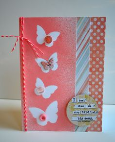 Mister Huey's Color Mists (Boss Lady) and Studio Calico Wood Veneer butterflies for maksing effect
