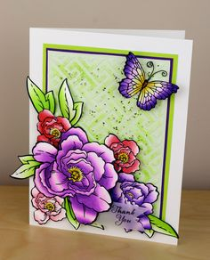 #Cre8time for beautiful floral spray and butterfly card. #Stampendous #DWstencils #ChameleonPens