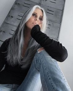 trendy hair color highlights for grey going gray blondes - Hair Color Ideas Grey Hair Don't Care, Long Gray Hair, Silver Grey Hair, Black Hair Going Grey, Gray Hair Women, Older Women Long Hair, Black Women, Black Girls, Going Gray Gracefully