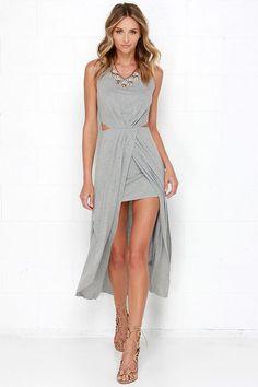 No Mountain High Enough Heather Grey Maxi Dress at Lulus.com!
