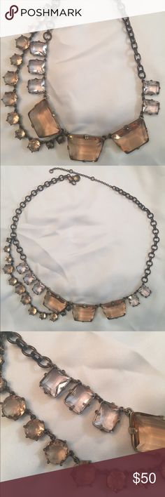 J Crew lilac and blush crystal necklace. Statement necklace with 20 crystals in soft colors for spring. Antique / vintage feel of an Estate piece. Lobster clasp with variable lengths. Pretty accessory for a night out OR add drama to Tshirt and jeans. J. Crew Jewelry Necklaces