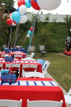 Blue & Red boy's birthday party decorations