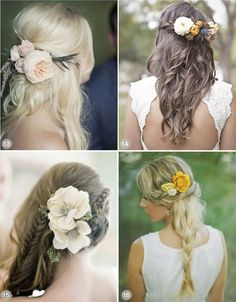Wedding Hair Down with Flowers