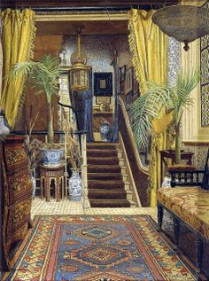 Jessica Hayllar - The Hallway…..KIDS USED TO GET INTO SO MUCH TROUBLE SLIDING DOWN THIS BANISTER………CONSTANTLY KNOCKING OVER THE POTTED PLANTS…….ccp