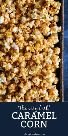 Oven-Baked Caramel Corn from - This homemade caramel popcorn recipe is SO much better than store-bought, with a caramel glaze that's not too thick, not too thin. It's crispy, sweet, buttery perfection! Great for the holidays and gifting! Caramel Corn Recipes, Candy Recipes, Snack Recipes, Dessert Recipes, Carmel Popcorn Recipe Easy, Popcorn Dessert Recipe, Homemade Carmel Popcorn, Sweet Popcorn Recipes, Gastronomia