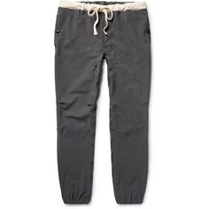 Beams Plus Slim-Fit Stretch-Nylon Twill Drawstring Trousers ($200) ❤ liked on Polyvore featuring men's fashion, men's clothing, men's pants, men's casual pants, mens slim pants, mens slim fit twill pants, mens drawstring pants, mens slim fit pants and mens twill pants