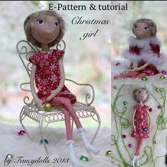 Cloth Doll Sewing ePattern & Tutorial Christmas Girl by FancyDolls, $15.00 #sewing #pattern #tutorial #artdoll #clothdoll