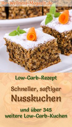 Fast, juicy low carb nut cake - recipe without Schneller, saftiger Low Carb Nusskuchen – Rezept ohne Zucker Recipe for a juicy low carb nut cake: The low-carb, low-calorie cake is prepared without sugar and corn flour … carb bake cake - Quick Dessert Recipes, Low Sugar Recipes, Low Carb Chicken Recipes, No Sugar Foods, Easy Cake Recipes, Low Carb Desserts, Cookie Recipes, Sugar Diet, Dinner Recipes
