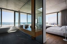 Architecture : Main En Suite With Custom Shower And Standalone Bathtub Amusing Ocean Landscapes Also An Open Interior Design Luxurious Cape Town Residence Facade Pavilion. Interior Color Scheme. Modern Residence Open.