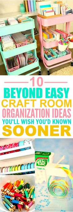 These 10 Clever Craft Room Organization Hacks are THE BEST! I'm so happy I f… These 10 Clever Craft Room Organization Hacks are THE BEST! I'm so happy I found these AWESOME ideas! Now my craft room will look so good I'm definitely pinning for later! Sewing Room Organization, Craft Room Storage, Craft Rooms, Scrapbook Organization, Kitchen Organization, Diy Storage, Storage Organizers, Storage Hacks, Craftroom Storage Ideas