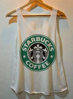 Starbucks Coffee Logo printed Pop Punk RockTank Top Vest Ladies Freesize