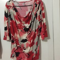 a.n.a. A New Approach Top This is a beautiful red, black, white and gray impressionist type design. Really prettying! It is in excellent condition and fabric is soft cotton/rayon. The lovely  draped neck line is so flattering. a.n.a. A New Approach Tops