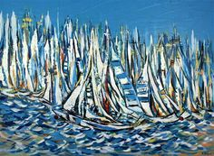 """Daily+Paintworks+-+""""America's+cup+race""""+-+Original+Fine+Art+for+Sale+-+©+Khrystyna+Kozyuk"""