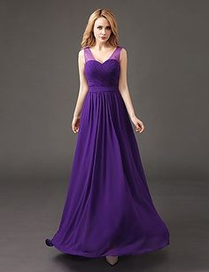 Floor-length Chiffon Bridesmaid Dress A-line V-neck with Pleats 5079135 2016 –…
