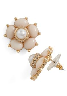 Pearl After My Own Heart Earrings - Formal, Wedding, Vintage Inspired, White, Pearls, Rhinestones, Cream