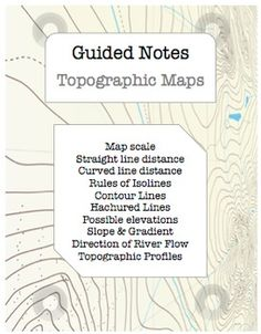 This Topographic Maps EDITABLE NOTES BUNDLE for Earth Science Regents classes includes: - 24 page guided notes with essential questions, visual aids, and checkpoint questions for students. (Word & PDF)- 24 page answer key for teachers (Word & PDF)- 113 slide PowerPoint Presentation with custom animations, links to web animations, and color-coded notes (students copy the blue!).