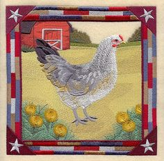 AMERAUCANA HEN SQUARE  Machine Embroidery by AzEmbroideryBarn, $62.95