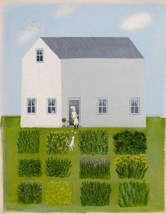 green - house with garden - Herb Garden - painting - Diana Card Herb Garden, Garden Art, Garden Design, Garden Painting, Easy Garden, Garden Illustration, Naive Art, Home Art, Collages