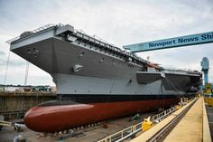 A freshly painted Gerald R. Ford (CVN the first of a new generation of aircraft carriers, is almost ready to float. This is history in the making. View more photos from the ship's crew:. Uss Ford, Poder Naval, Navy Carriers, Navy Aircraft Carrier, New Aircraft, Us Navy Ships, Navy Marine, Armada, United States Navy