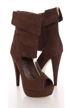 You will be head over heels for these saucy little numbers! They will perfectly compliment any outfit for any occasion! Make sure to add these to your collection, they definitely are a must have! The features for these bootie heels include a faux suede upper with a folded cuff trim, back zipper closure, peep toe, scoop cut out vamp, smooth lining, and cushioned footbed. Approximately 4 3/4 inch heels and 1 inch platforms.