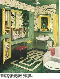 Vintage Milk Glass Bottles, the 1944 home design pictures in this article are over the top! I love the Milk Glass Decanters in this bathroom.~ MWP - decor - 32 pages of designs and ideas from 1944 - Retro Renovation Retro Room, Vintage Room, Vintage Green, Retro Vintage, Vintage Barbie, 1940s Home Decor, Vintage Home Decor, Vintage Homes, Green Apartment