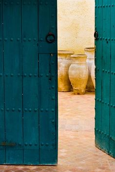 Love the colours in the doors, the pots and the wall. Teal Door, Turquoise Door, Interior Exterior, Exterior Doors, The Doors Of Perception, When One Door Closes, Shutter Doors, Shades Of Teal, Teal And Gold