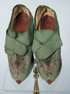 Pair of Green Silk Lady's Shoes, France, c. 1720.