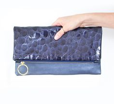 Blue Croco Leather Clutch Patent Fold Over Clutch by gmaloudesigns