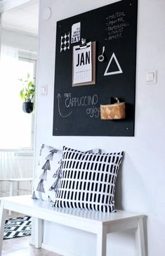 Idea to use blackboard wall feature on your entrance hall or hallway on a beautiful Scandinavian scheme of black and white