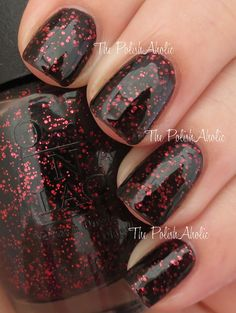 """OPIs """"Today I Accomplished Zero"""" from its 2014 Coca-Cola Collection. Beautiful blackberry jelly color with lots of pink flecks. One coat for sheer color. Two for a rich opaque. Glam!!!"""
