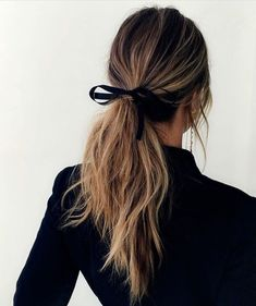 Long Hair Womens Styles : Bow ponytail.