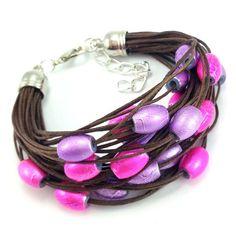 Bransoletka sznurek czekoladowy brąz różowe fioletowe koraliki Lens, Jewels, Fashion, Moda, Jewerly, Fashion Styles, Klance, Gemstones, Fashion Illustrations