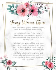 Pretty floral design for the new Young Women Theme 2020 - The Church of Jesus Christ of Latter-day Saints. Free or printable. Source by nikkiyorgason ideas diy Young Women Handouts, Young Women Lessons, Young Women Activities, Family Activities, Therapy Activities, Lds Young Womens Theme, Young Women Theme Printable, Gifts For Young Women, Lds Youth