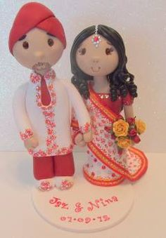 Indian Wedding Cake Topper porcelana fria polymer clay